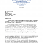 US Congress letter to Peter Daszak requesting information concerning Wuhan Institure of Virology